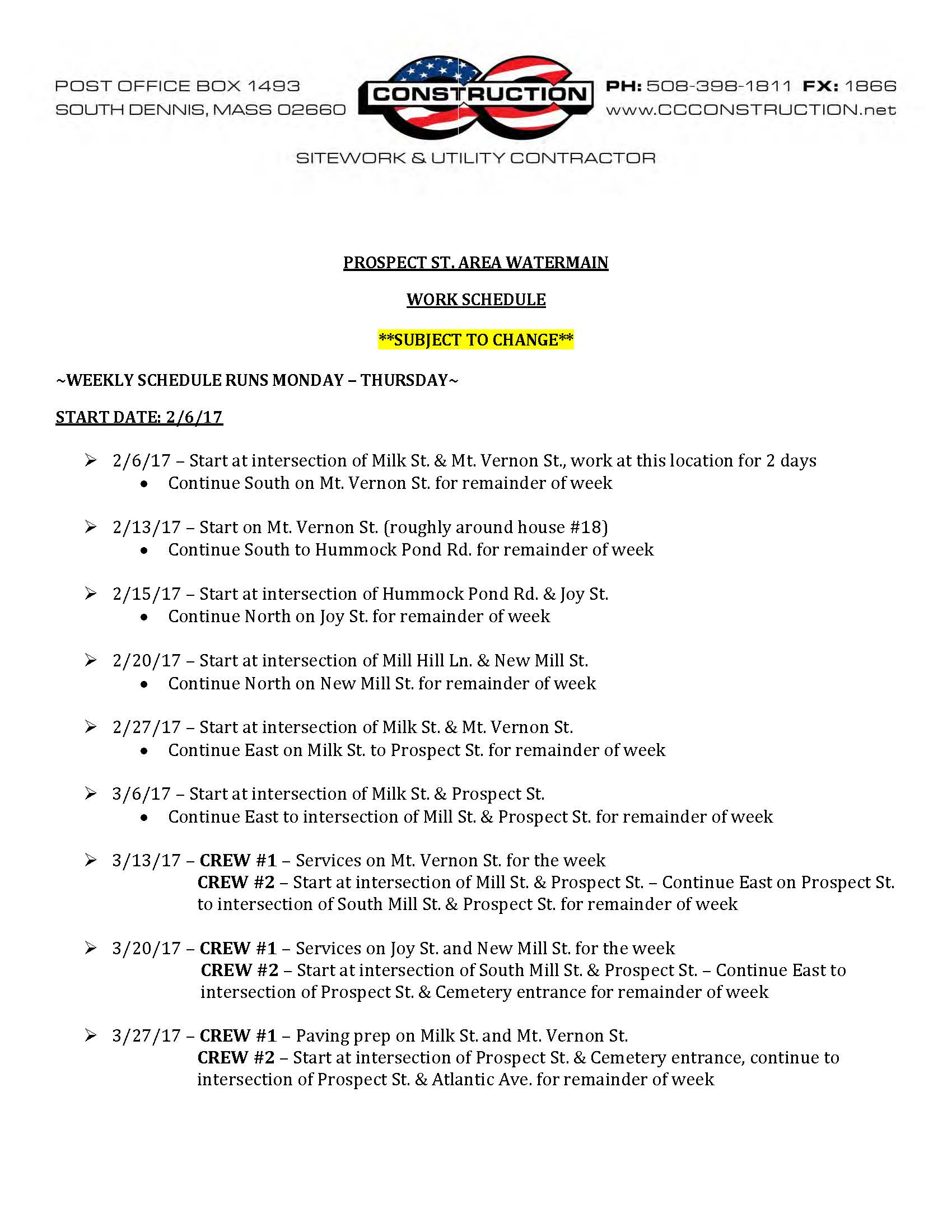 Prospect St Water Main Project Weekly Schedule_Page_1