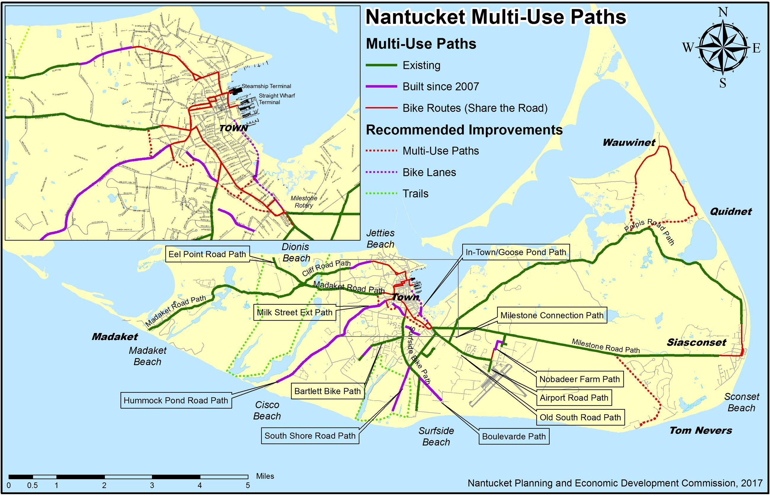 Map Of Nantucket Nantucket Bike Paths | Nantucket, MA   Official Website Map Of Nantucket